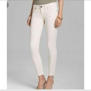 Free People White Denim Skinny Jeans Size: W 24
